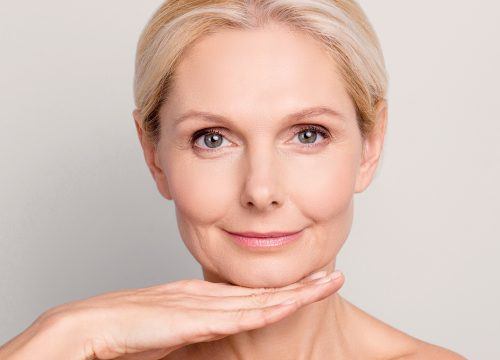 Older woman with facial wrinkles